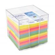 Bloc mémo plexi transparent de 700 feuilles couleurs 9x9x9cm WAYTEX