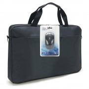 """Sacoche pour PC portable 15.6"""" et documents en nylon noir + souris sans fil"""