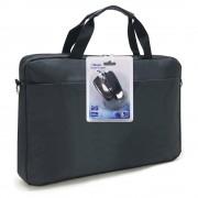 """Sacoche pour PC portable 15.6"""" et documents en nylon noir + souris USB"""