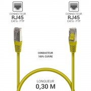 Cordon réseau RJ45 Cat. 6 100% cuivre blindé FTP jaune 0.30 m