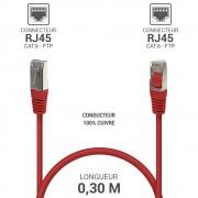 Cordon réseau RJ45 Cat. 6 100% cuivre blindé FTP rouge 0.30 m