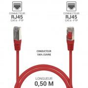 Cordon réseau RJ45 Cat. 6 100% cuivre blindé FTP rouge 0.50 m
