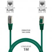 Cordon réseau RJ45 Cat. 6 100% cuivre blindé FTP vert 1.00 m