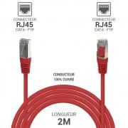 Cordon réseau RJ45 Cat. 6 100% cuivre blindé FTP rouge 2.00 m