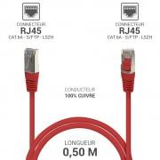 Cordon réseau RJ45 Cat. 6a double Blindé S/FTP LSOH rouge 0.50m