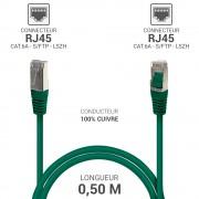 Cordon réseau RJ45 Cat. 6a double Blindé S/FTP LSOH vert 0.50m