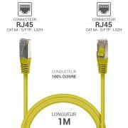 Cordon réseau RJ45 Cat. 6a double Blindé S/FTP LSOH jaune 1.00m