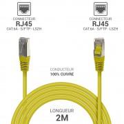 Cordon réseau RJ45 Cat. 6a double Blindé S/FTP LSOH jaune 2.00m